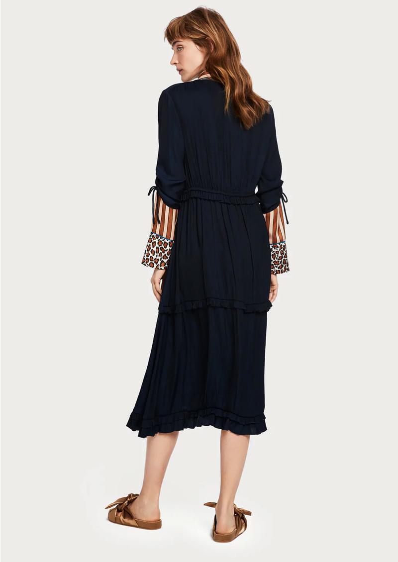 Maison Scotch Ruffled Midi Dress - Night main image
