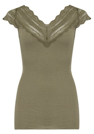 Rosemunde Silk Mix Top - Burnt Olive