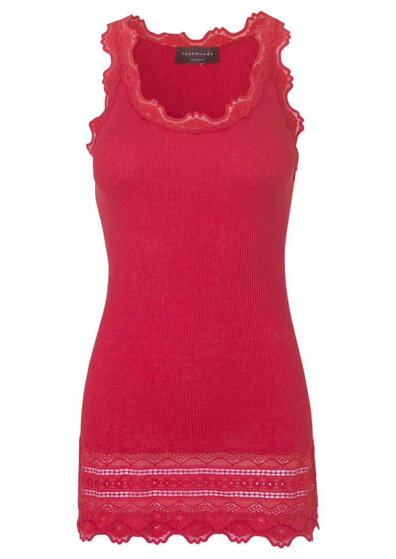 Rosemunde Wide Lace Silk Blend Vest - Strawberry main image