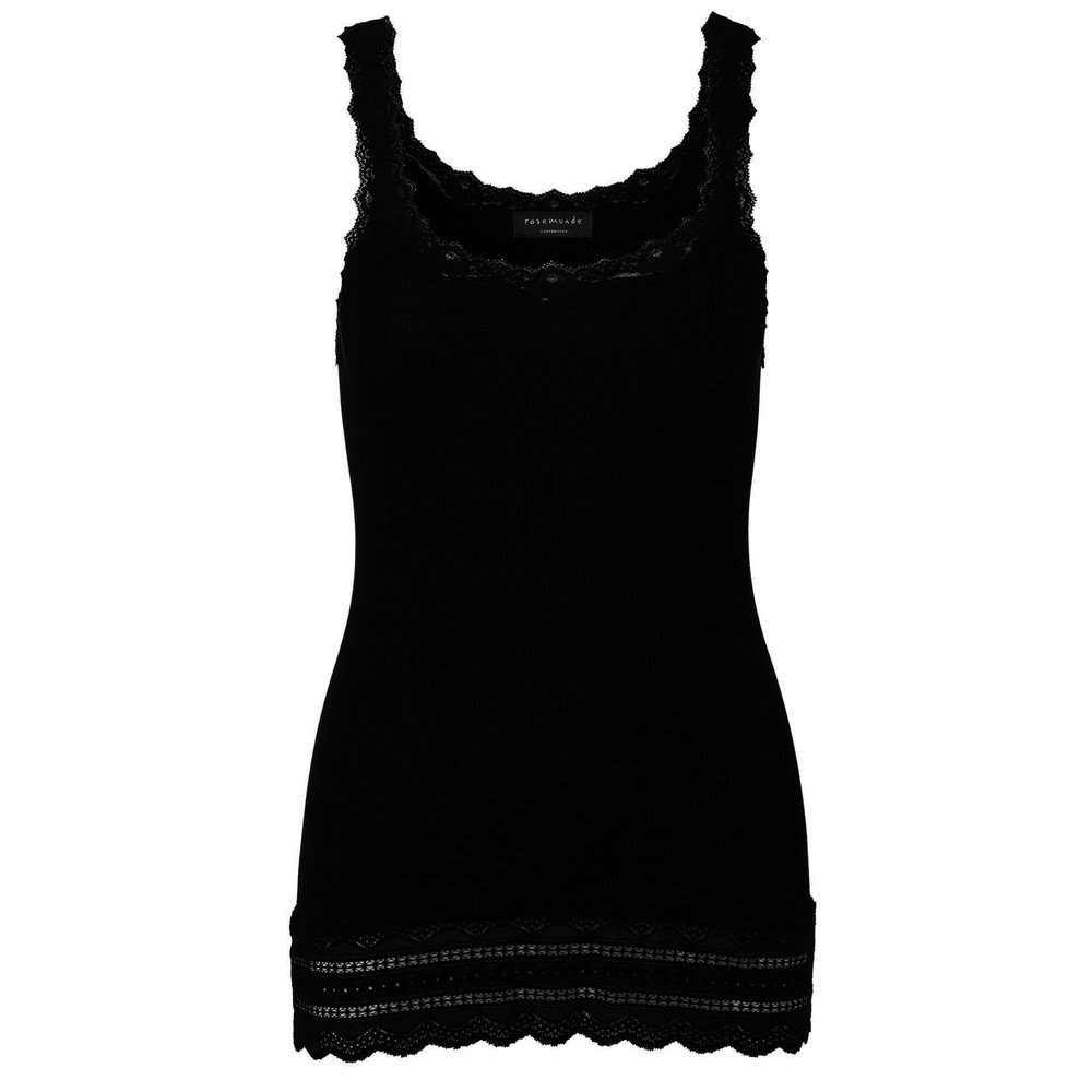 Silk Mix Tank with Thin Straps - Black