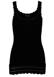 Rosemunde Silk Mix Tank with Thin Straps - Black