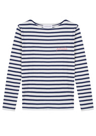 MAISON LABICHE Sailor Long Sleeve Paradis Top - Ivory Navy