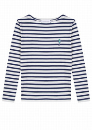 MAISON LABICHE Sailor Long Sleeve Hippocampe Top - Ivory Navy