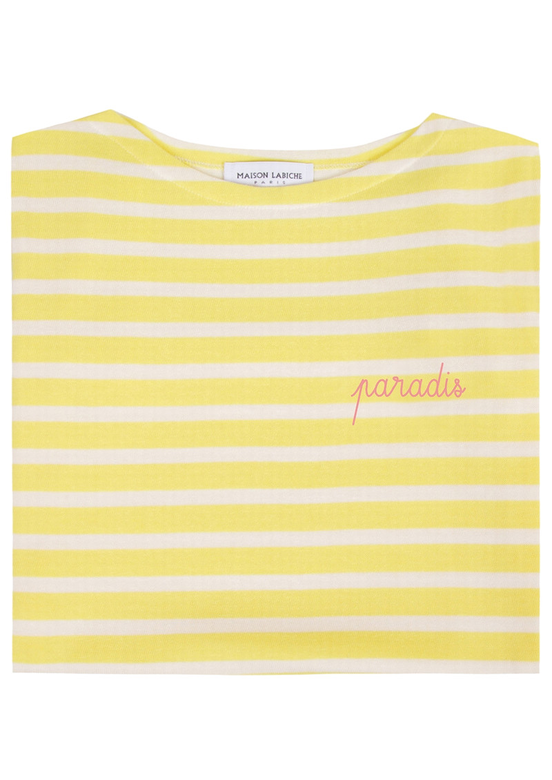 MAISON LABICHE Sailor Short Sleeve Paradis Tee - Yellow & Off White main image