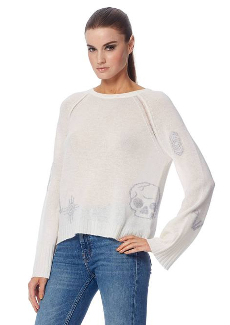 360 SWEATER Skull Cashmere Lincoln Sweater- Chalk & Heather Grey main image