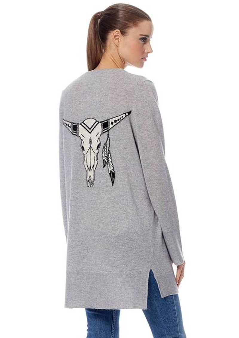 360 SWEATER Skull Cashmere Kenya Cardigan - Heather Grey main image
