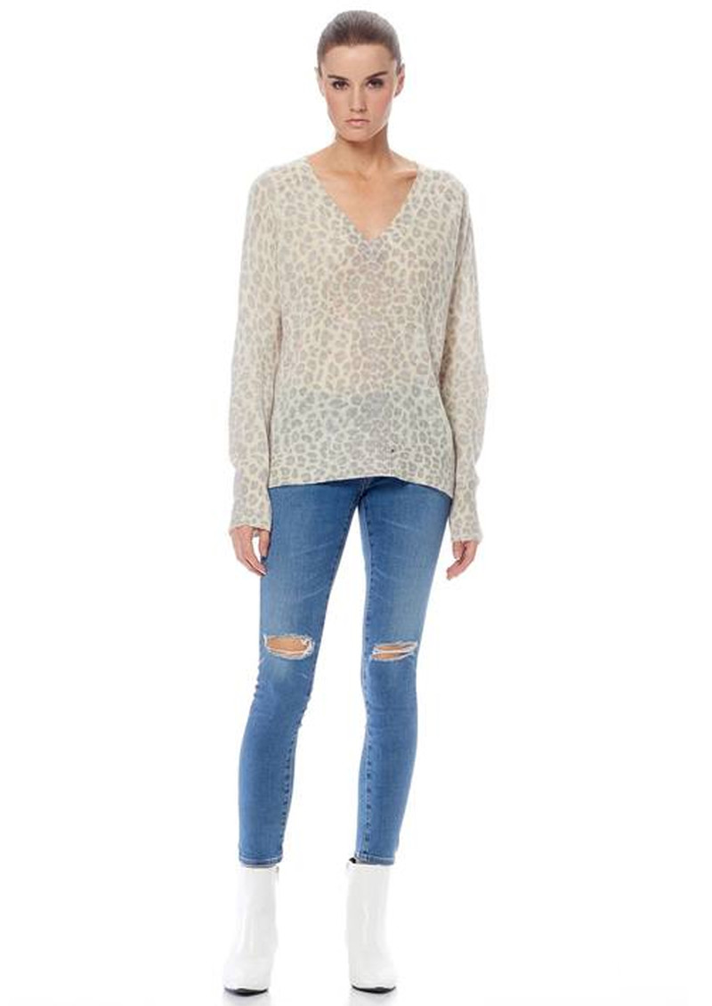 Sylvia Leopard Cashmere Sweater - Mint & Chalk main image