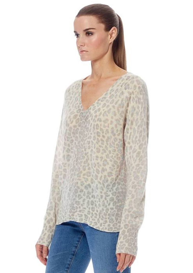 360 SWEATER Sylvia Leopard Cashmere Sweater - Mint & Chalk main image