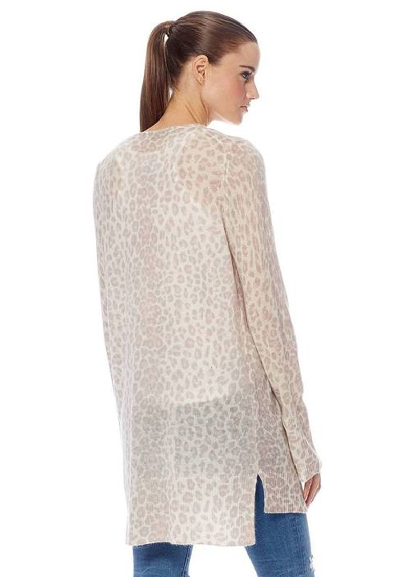 360 SWEATER Sophie Leopard Cashmere Cardigan - Sorbet & Chalk main image