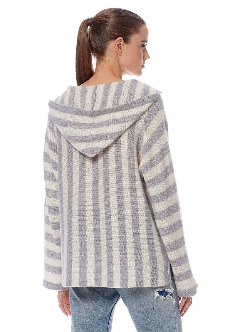 360 SWEATER Mckenna Cashmere Sweater - Heather Grey & Chalk main image