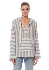 360 SWEATER Mckenna Cashmere Sweater - Heather Grey & Chalk