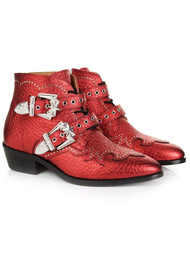 AIR & GRACE Starlight Ankle Boot - Red Metallic