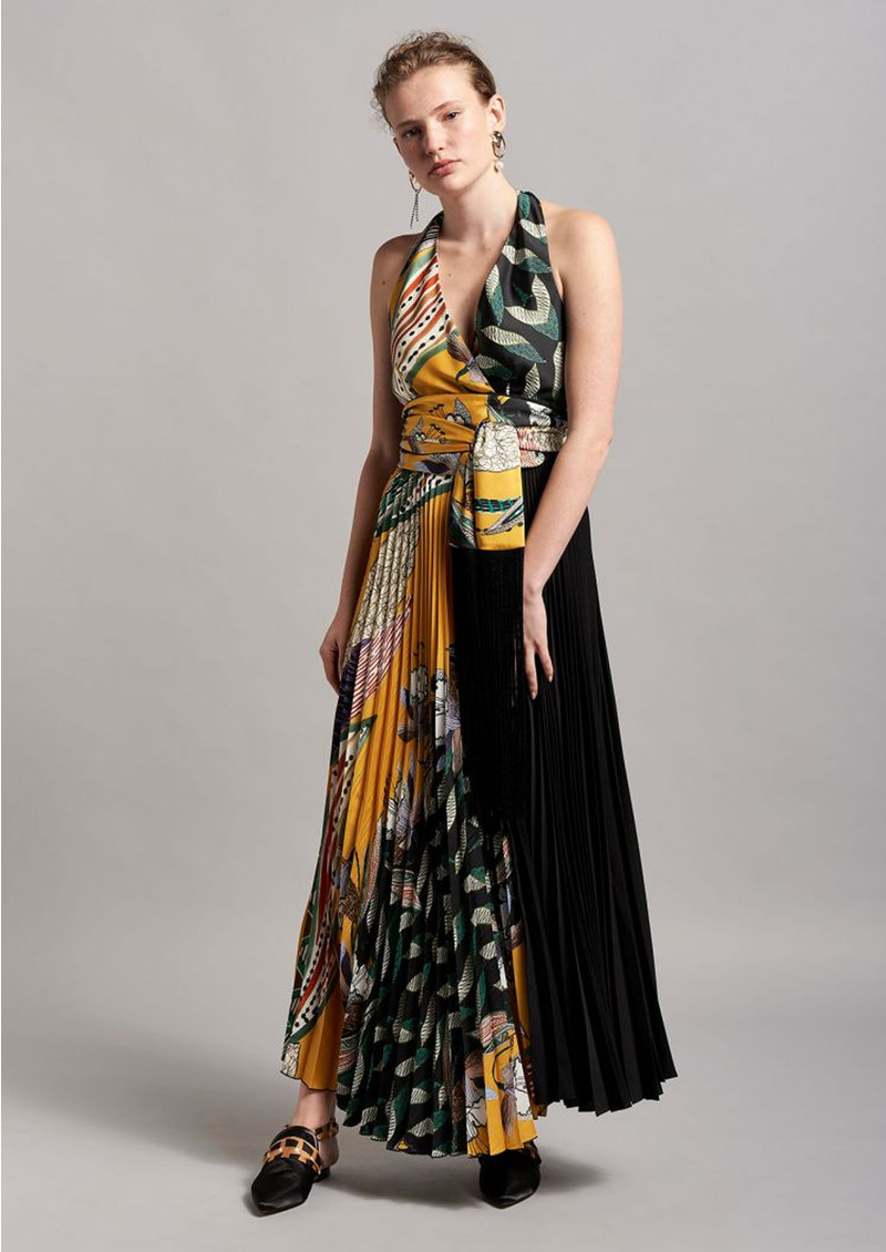BEATRICE B Halter Pleated Dress - Yellow Tropical Palm main image