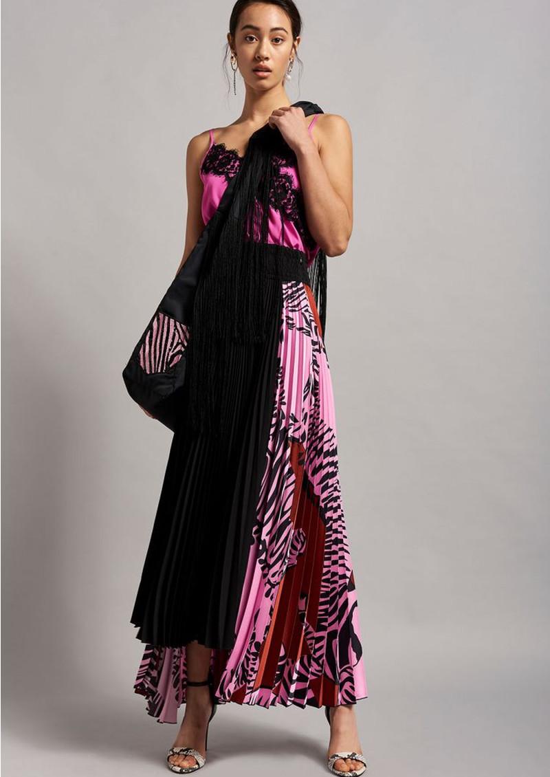 BEATRICE B Zebra Pleated Skirt - Fuchsia Pink main image