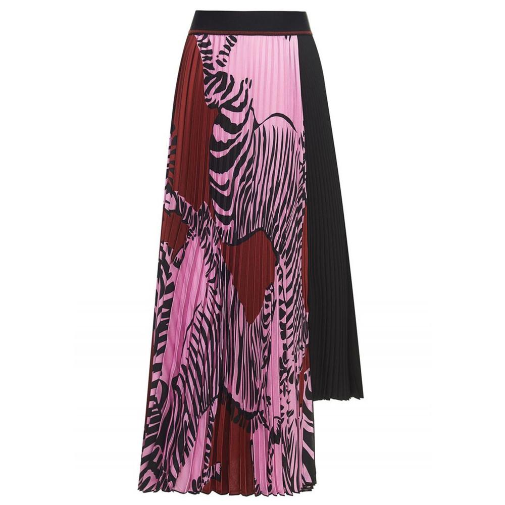Zebra Pleated Skirt - Fuchsia Pink