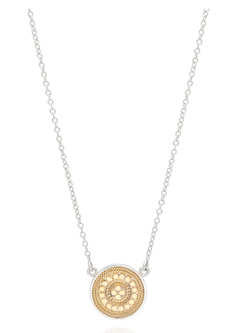 ANNA BECK Signature Reversible Beaded Disc Pendant - Gold & Silver  main image