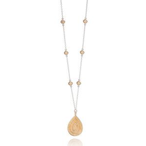 Signature Beaded Cushion & Large Teardrop Necklace - Gold