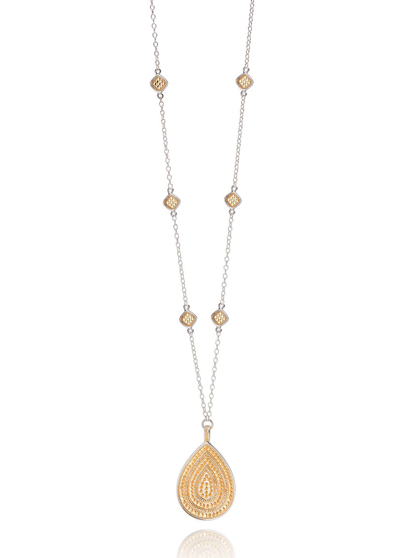 ANNA BECK Signature Beaded Cushion & Large Teardrop Necklace - Gold main image