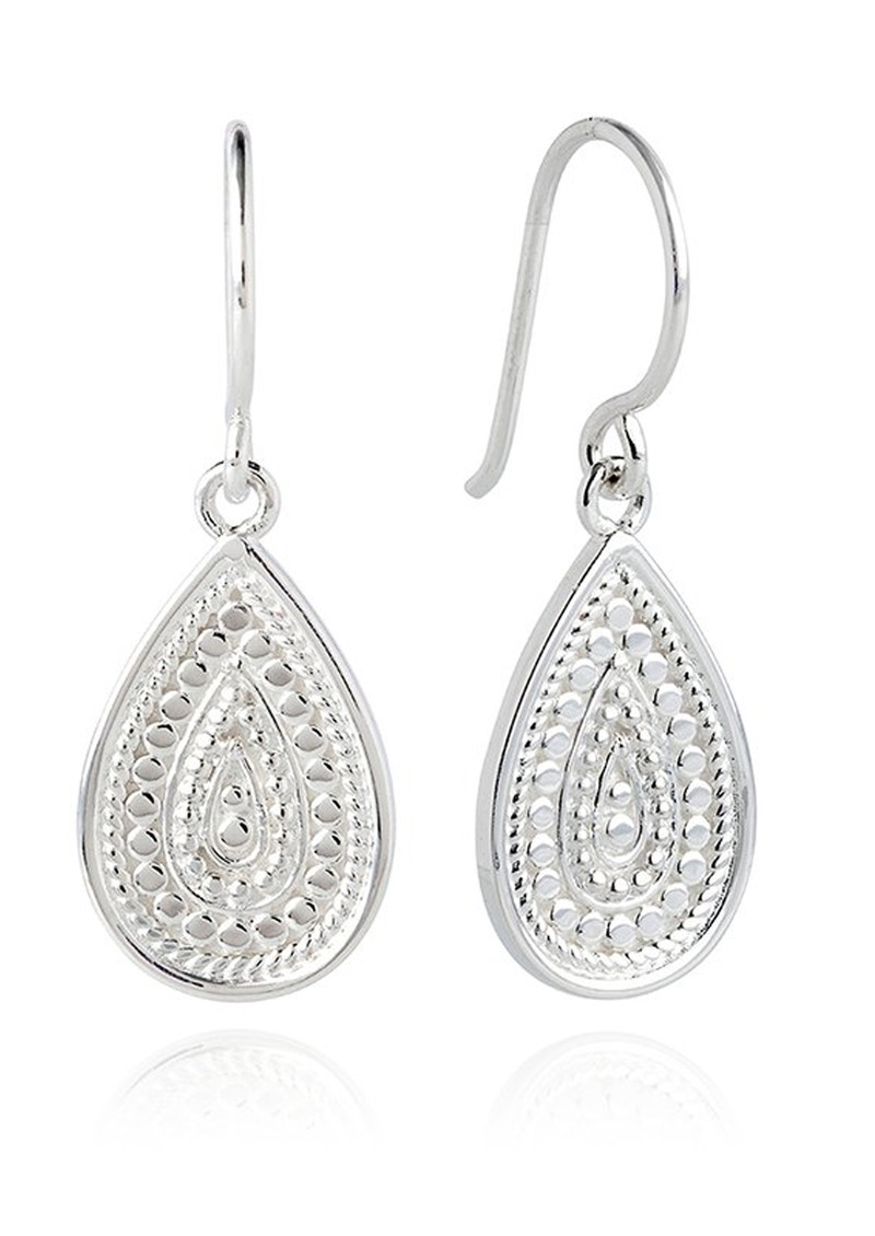 Signature Medium Beaded Teardrop Earrings - Silver main image