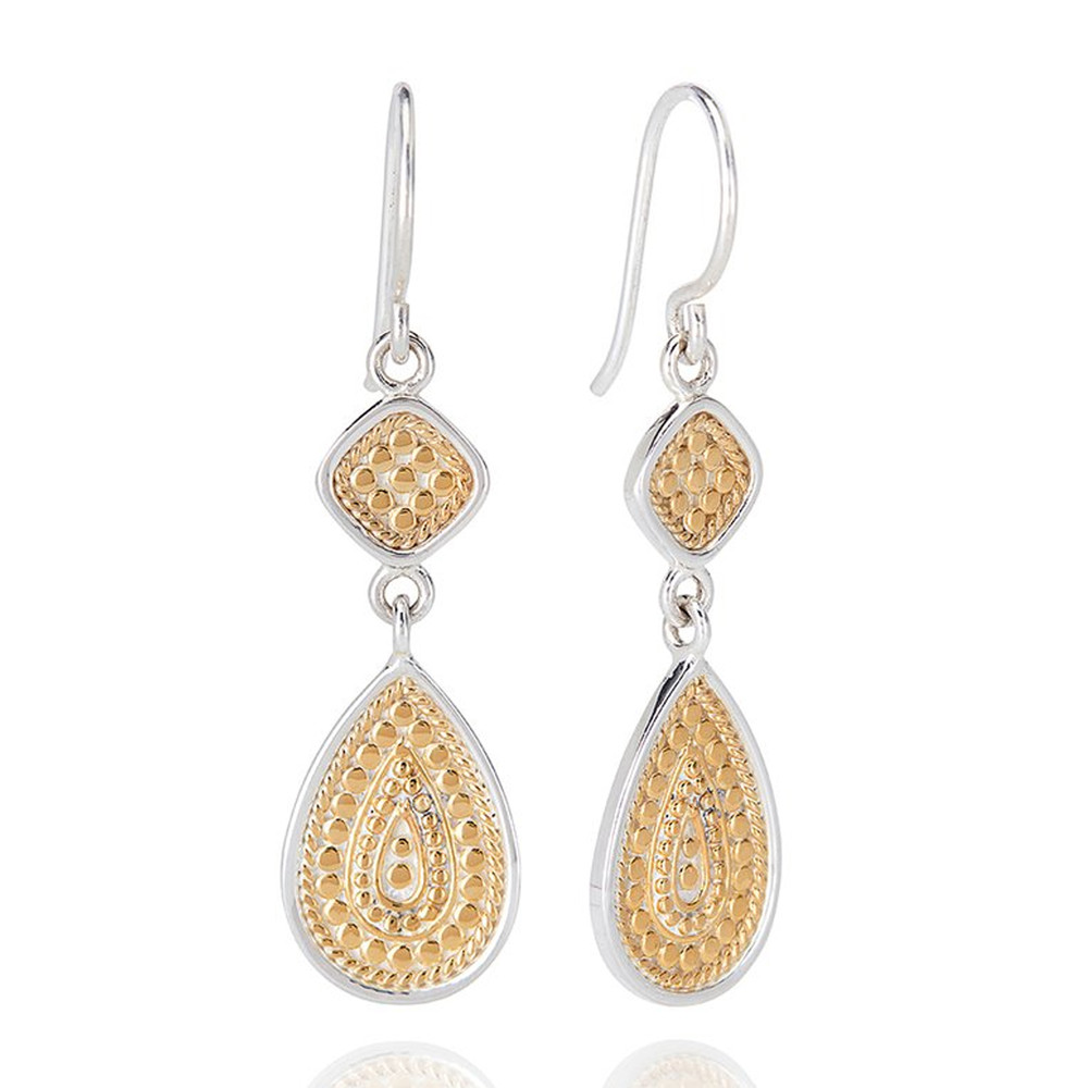 Signature Beaded Double Drop Earrings - Gold