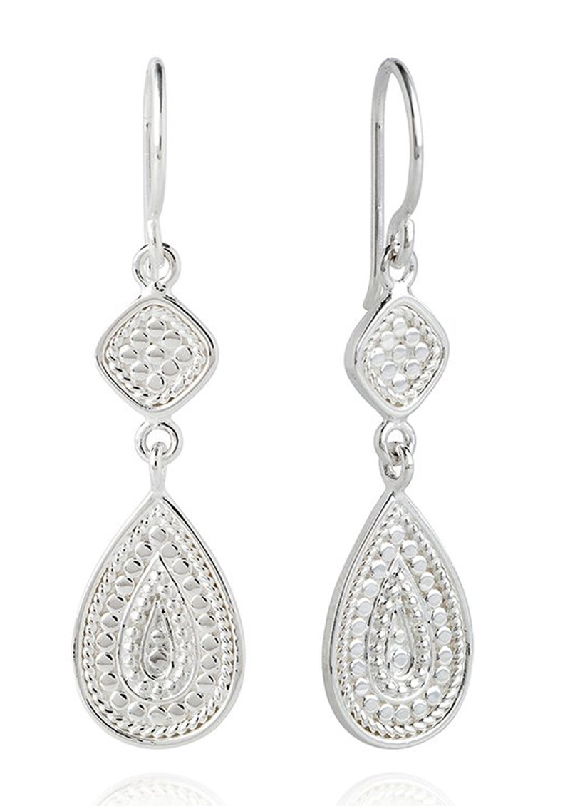 ANNA BECK Signature Beaded Double Drop Earrings - Silver main image