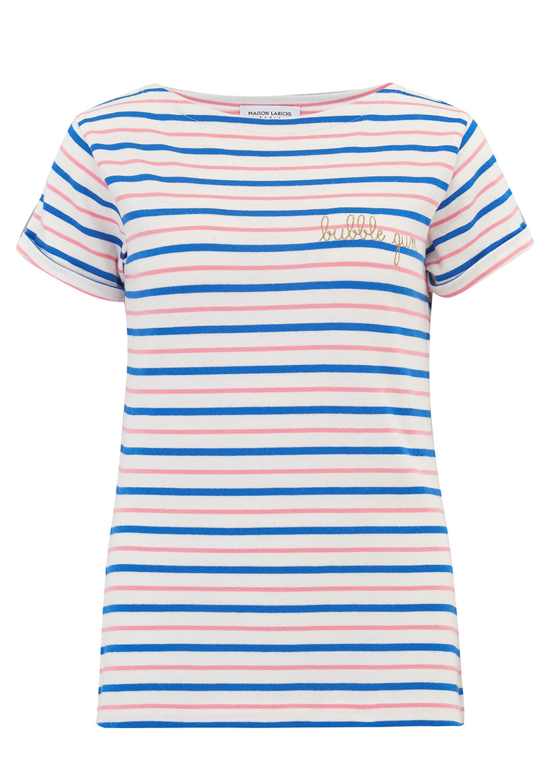 MAISON LABICHE Sailor Short Sleeve Bubblegum Tee - Pink, Blue & White main image