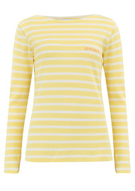 MAISON LABICHE Sailor Long Sleeve Amour Top - Yellow & Off White