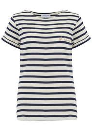 MAISON LABICHE Sailor Short Sleeve Oh La La Tee - Ivory Navy