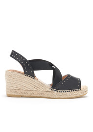 KANNA Ania Seta Wedge Sandal - Black