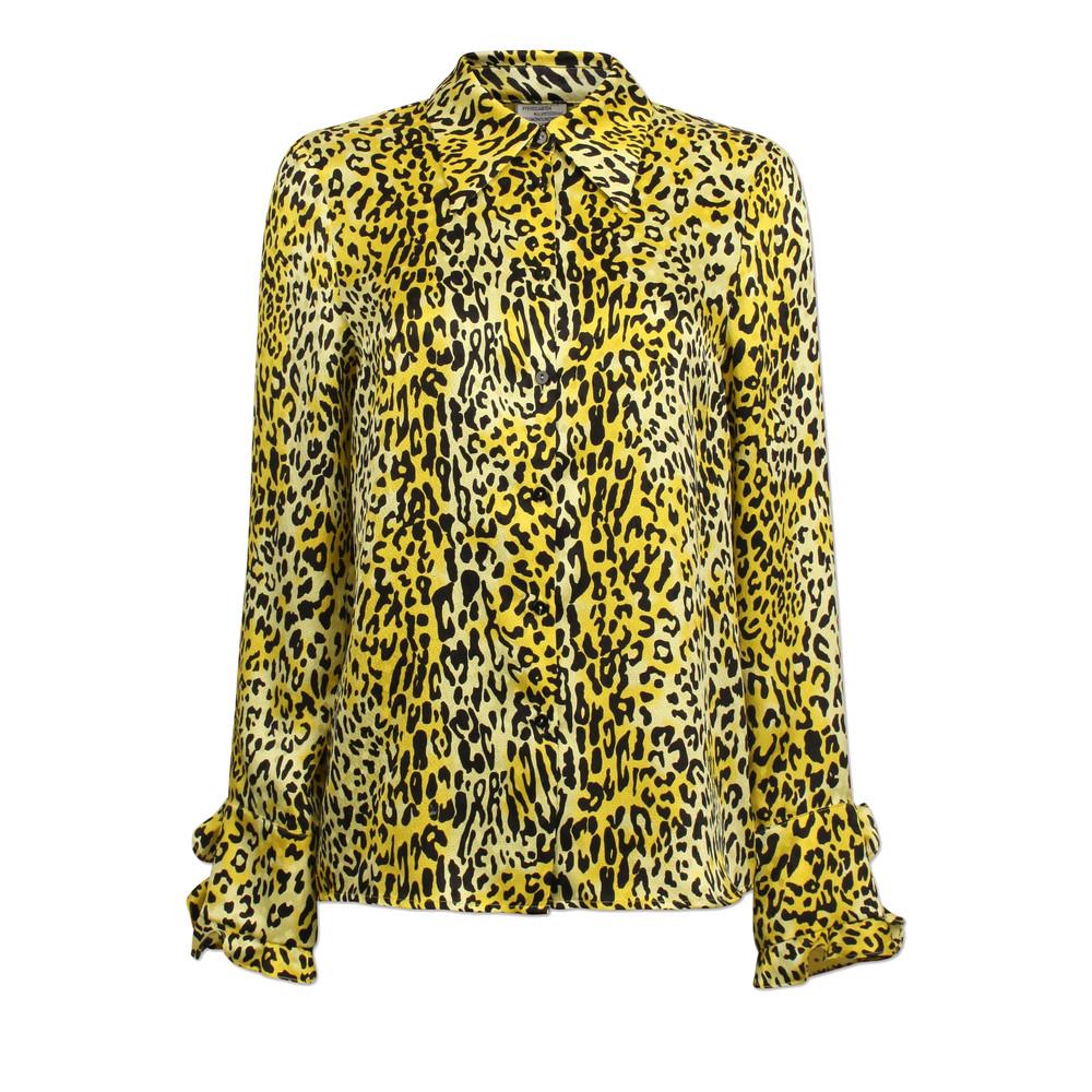 Mildred Leopard Silk Shirt - Lemon Leo