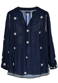 Pyrus Paola Embroidered Blouse - Navy