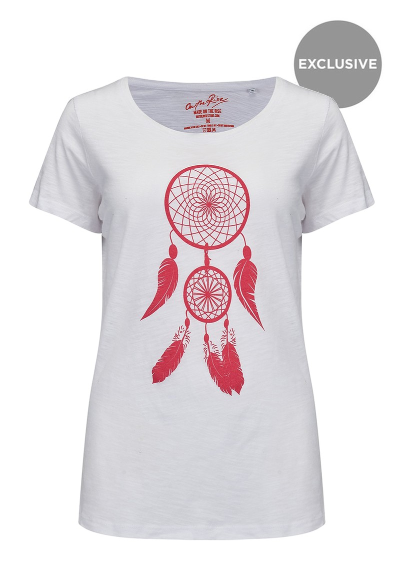 ON THE RISE Dreamcatcher Tee - White & Pink main image