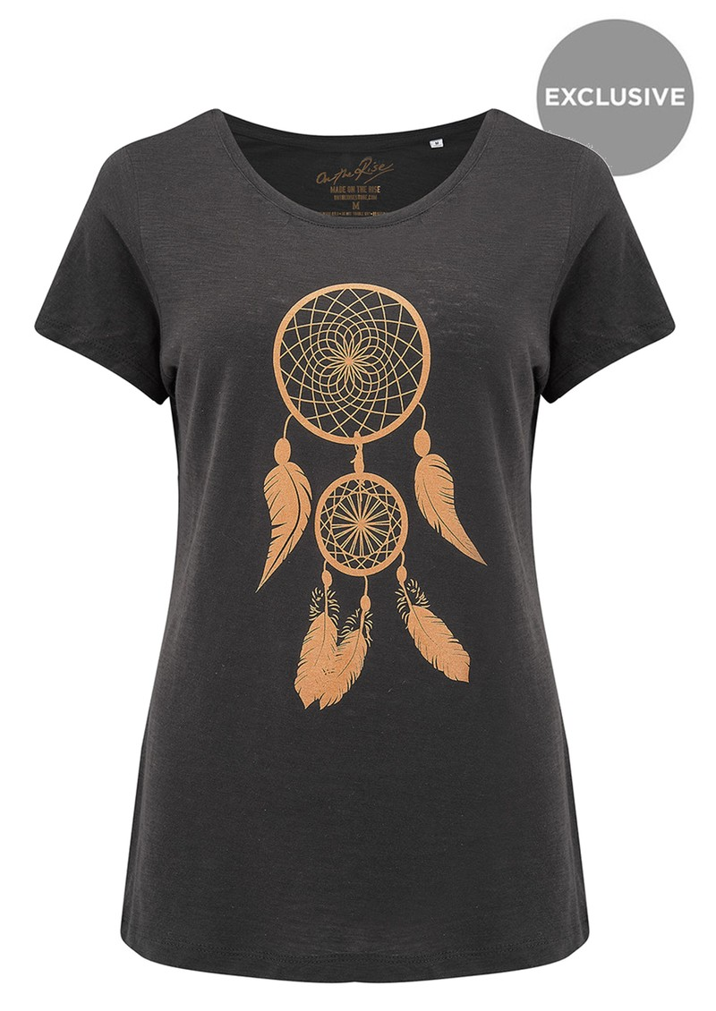 ON THE RISE Dreamcatcher Tee - Black & Gold main image