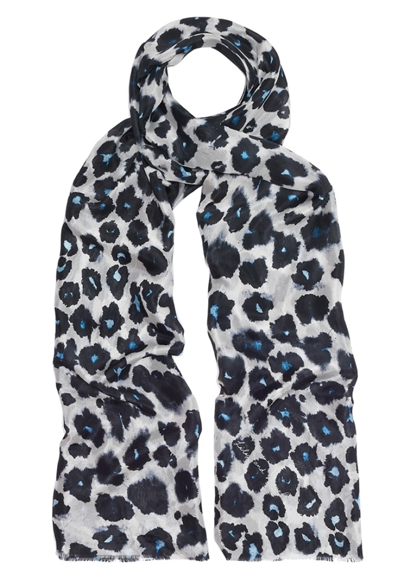 Lily and Lionel Isla Leopard Silk Scarf - Blue main image