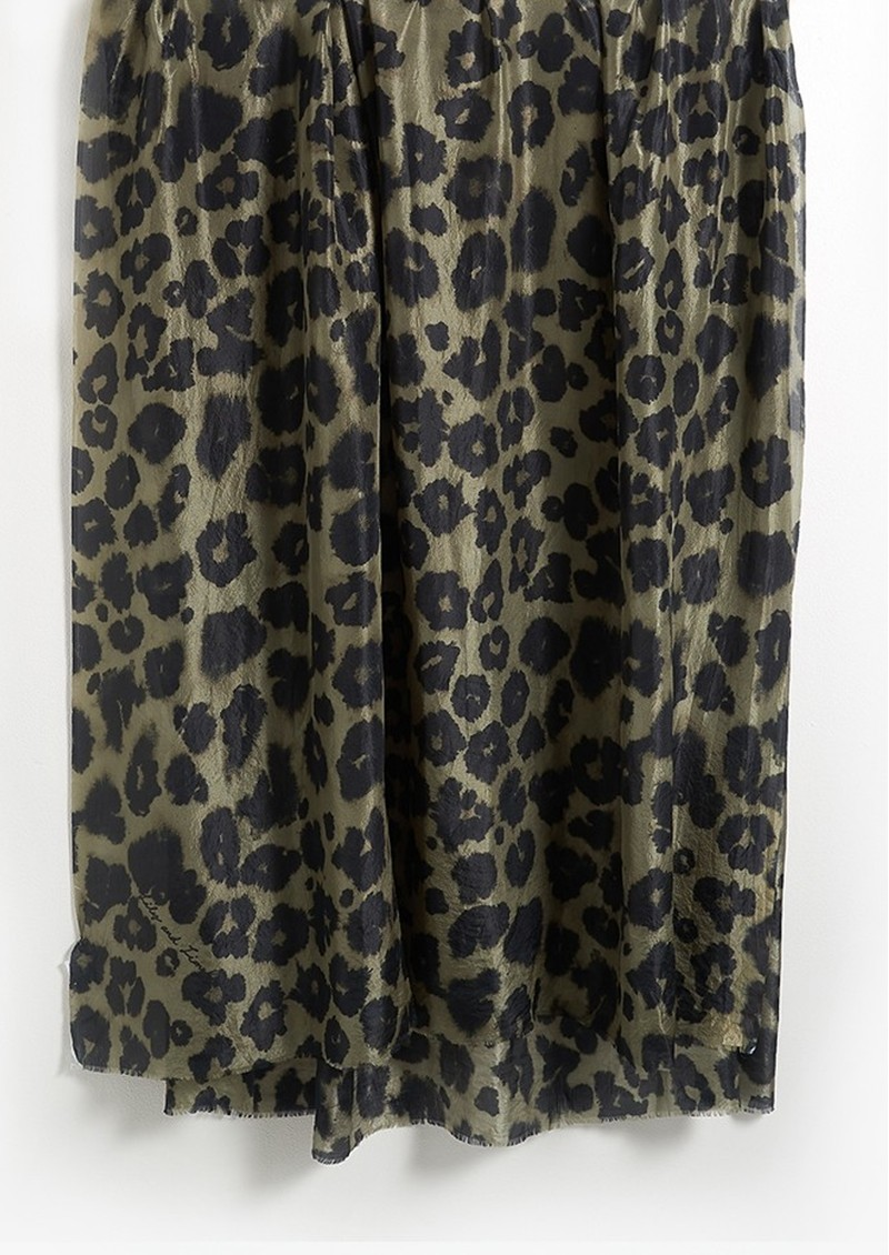 Lily and Lionel Isla Leopard Silk Scarf - Khaki main image