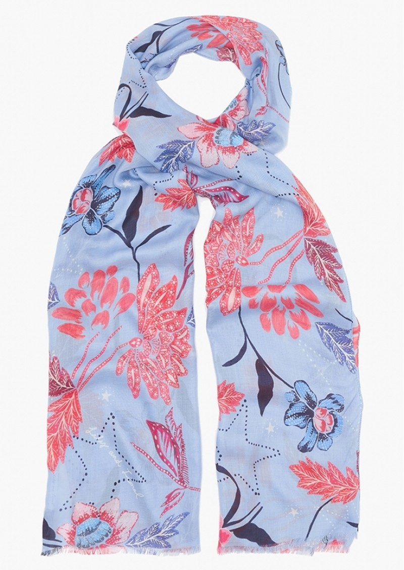 Lily and Lionel Batik Floral Scarf - Blue main image