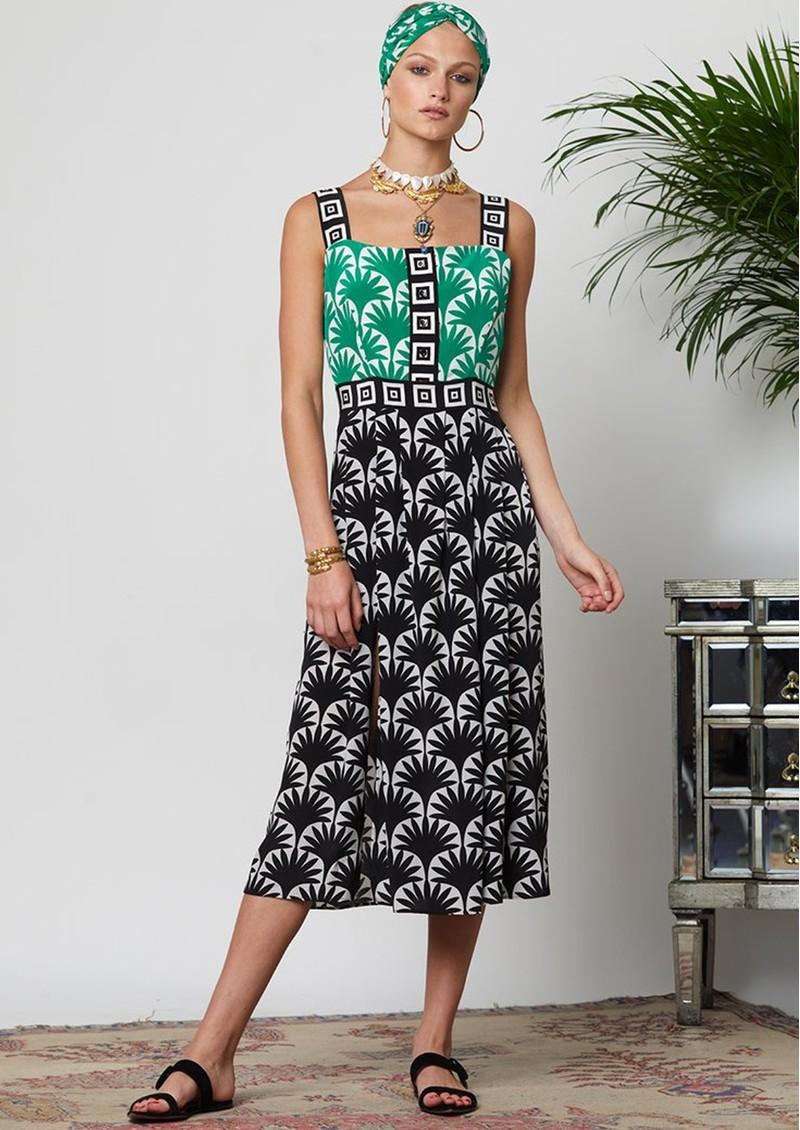 HAYLEY MENZIES Marrakesh Midi Sun Dress - Black & Green main image