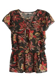 Maison Scotch Floral Lace Up Top - Combo H