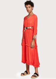 Maison Scotch Ruffled Midi Dress - Coral