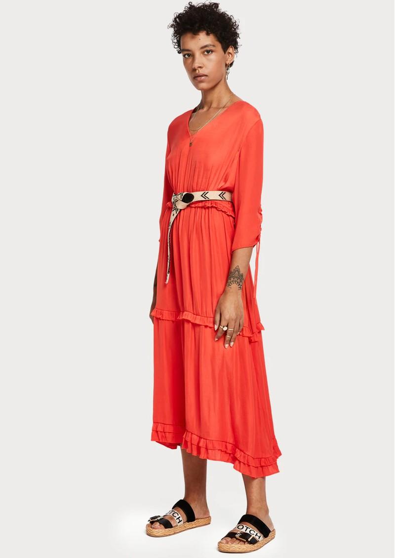 Maison Scotch Ruffled Midi Dress - Coral main image