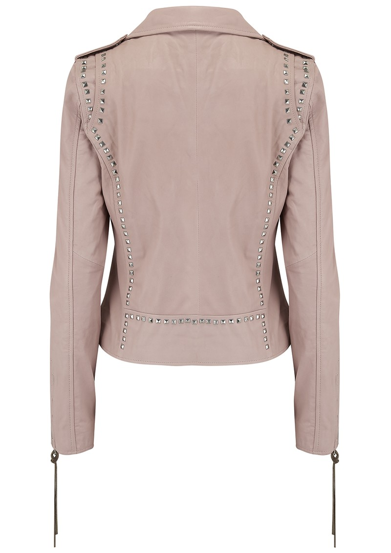 Patti Stud Leather Jacket - Mushroom main image