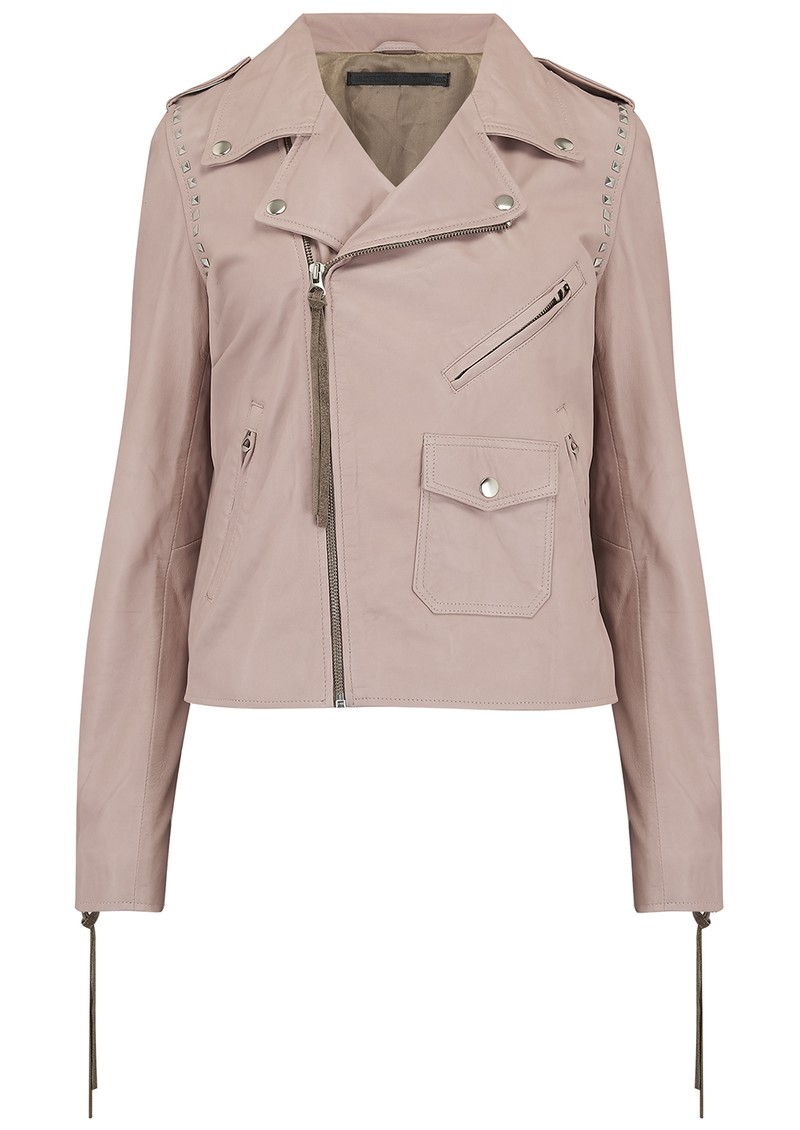 MDK Patti Stud Leather Jacket - Mushroom main image