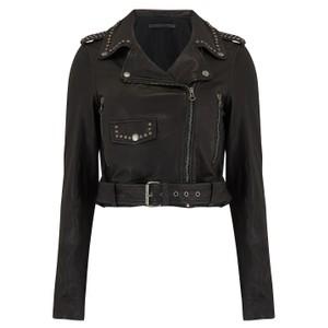 Aia Studded Leather Jacket - Black