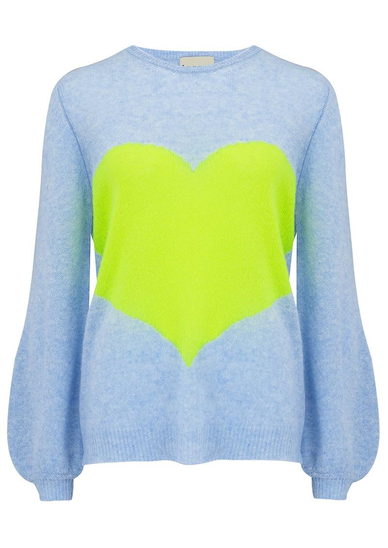 JUMPER 1234 Mega Heart Cashmere Sweater - Blue & Yellow main image
