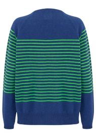 JUMPER 1234 Thin French Stripe Cashmere Sweater - Denim Blue & Green