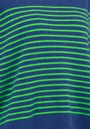 Thin French Stripe Cashmere Sweater - Denim Blue & Green additional image