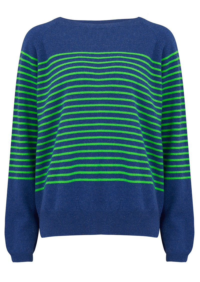 JUMPER 1234 Thin French Stripe Cashmere Sweater - Denim Blue & Green main image