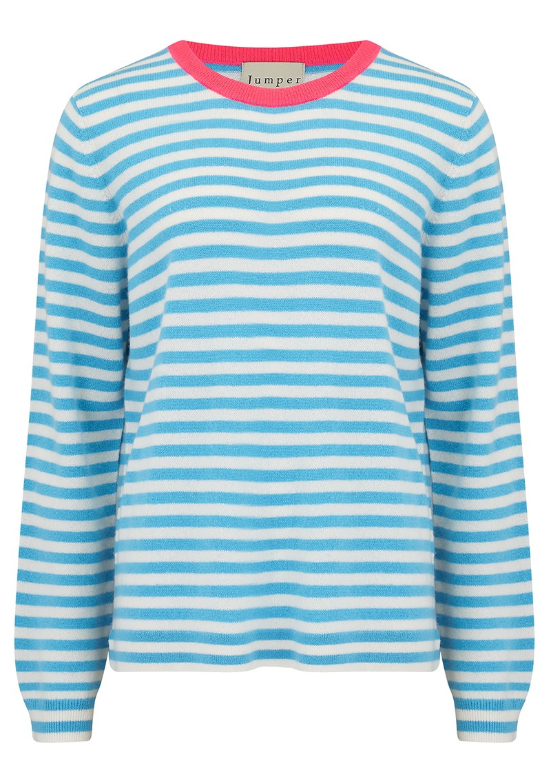 Stripe Cashmere Sweater - Pink, Azure & Cream main image