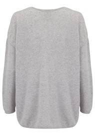 JUMPER 1234 Maxi Heart Breaker Cashmere Sweater - Pewter & Pink