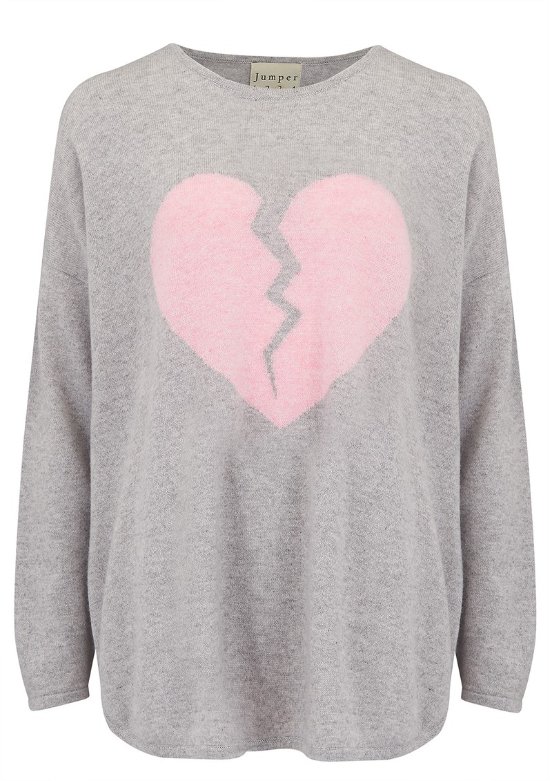 JUMPER 1234 Maxi Heart Breaker Cashmere Sweater - Pewter & Pink main image